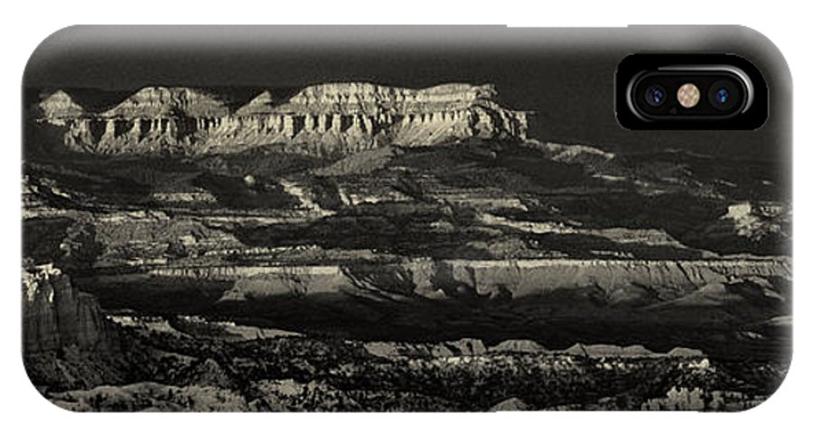 North America IPhone X Case featuring the photograph Panorama Bryce Canyon Storm In Black And White by Dave Welling