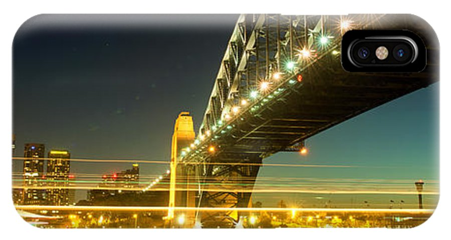 Yewkwang IPhone X Case featuring the photograph Panoramic Photo Of Sydney Harbour Bridge Night Scenery by Yew Kwang