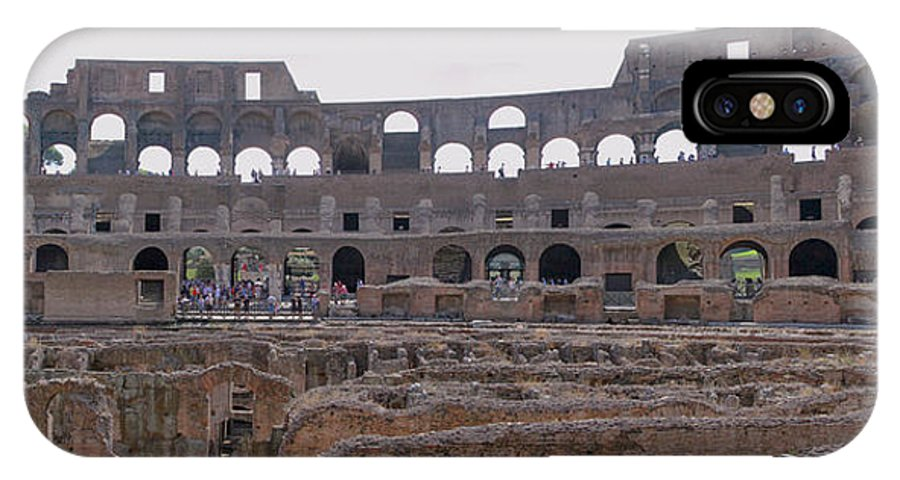 Panoramic IPhone X Case featuring the photograph Panoramic View Of The Colosseum by Allan Levin
