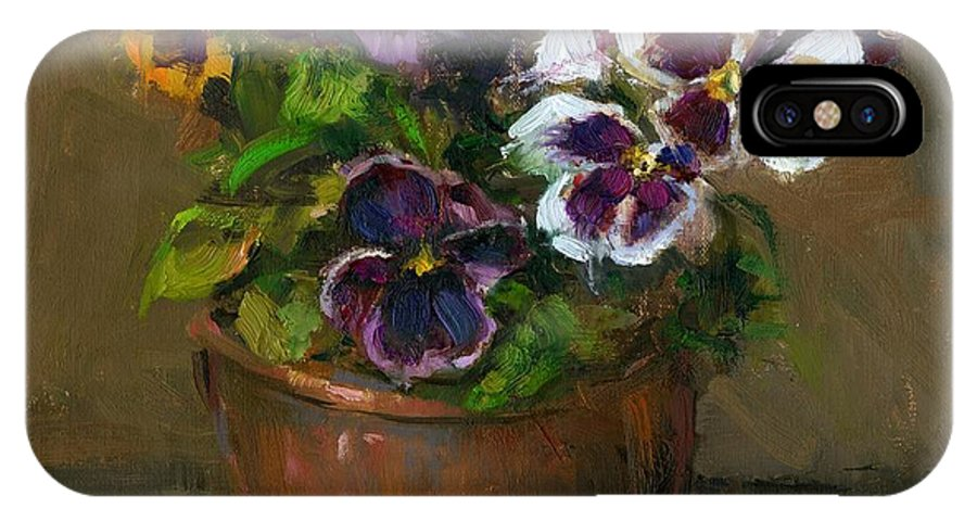 Pansy IPhone X Case featuring the painting Pansies In Copper Pot by Linda Dunbar