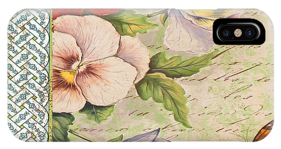 Watercolor Painting IPhone X Case featuring the painting Pansy Garden-a by Jean Plout