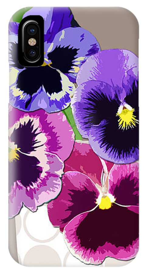 Floral IPhone X Case featuring the digital art Pansy Passion by Valerie Drake Lesiak