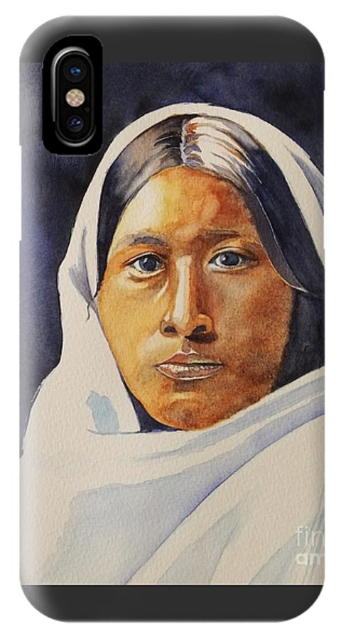 Portrait Of A Female Papago Indian Girl IPhone X / XS Case featuring the painting Papago Girl Circa 1907 by Lise PICHE