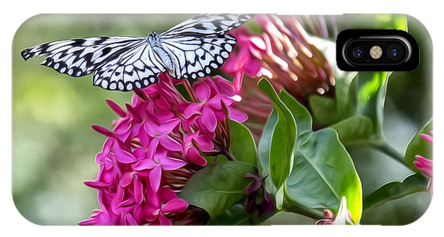 Butterfly IPhone X Case featuring the photograph Paper Kite On Fluid Blossoms by Bill Tiepelman