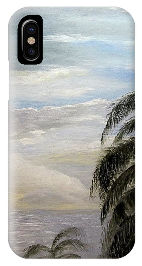 Oil IPhone X Case featuring the painting Paradise Sky by Nancy Craig