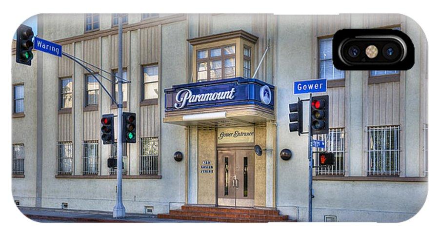 Paramount Studios IPhone X Case featuring the photograph Paramount Movie Studio Hollywood Ca by David Zanzinger
