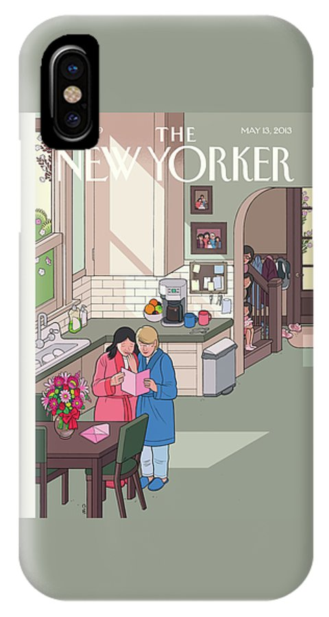 Women IPhone X Case featuring the painting Mothers' Day by Chris Ware