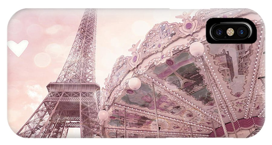 Eiffel Tower IPhone X Case featuring the photograph Paris Eiffel Tower Carousel Merry Go Round With Hearts - Eiffel Tower Carousel Baby Girl Nursery Art by Kathy Fornal