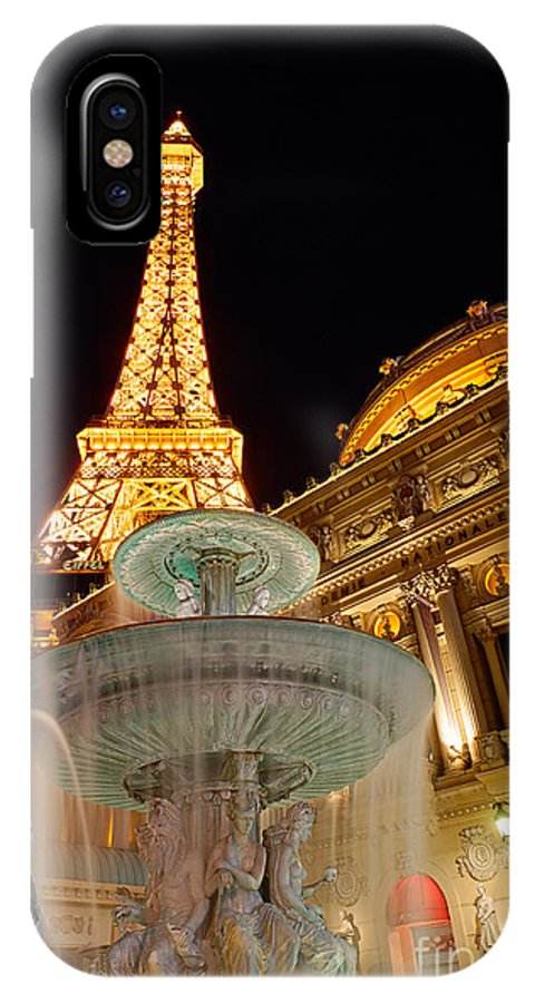 Paris IPhone X Case featuring the photograph Paris Hotel And Casino In Las Vegas by Jamie Pham