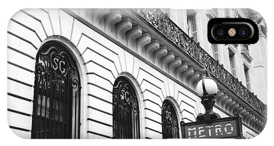 Paris black and white metro photo iphone x case featuring the photograph paris metro sign black