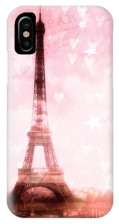 Paris Eiffel Tower IPhone X Case featuring the photograph Paris Pink Eiffel Tower - Shabby Chic Paris Dreamy Pink Eiffel Tower With Hearts And Stars by Kathy Fornal