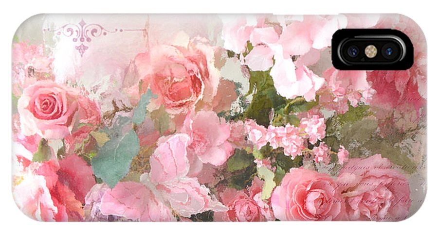 Roses IPhone X Case featuring the photograph Paris Shabby Chic Dreamy Pink Peach Impressionistic Romantic Cottage Chic Paris Flower Photography by Kathy Fornal