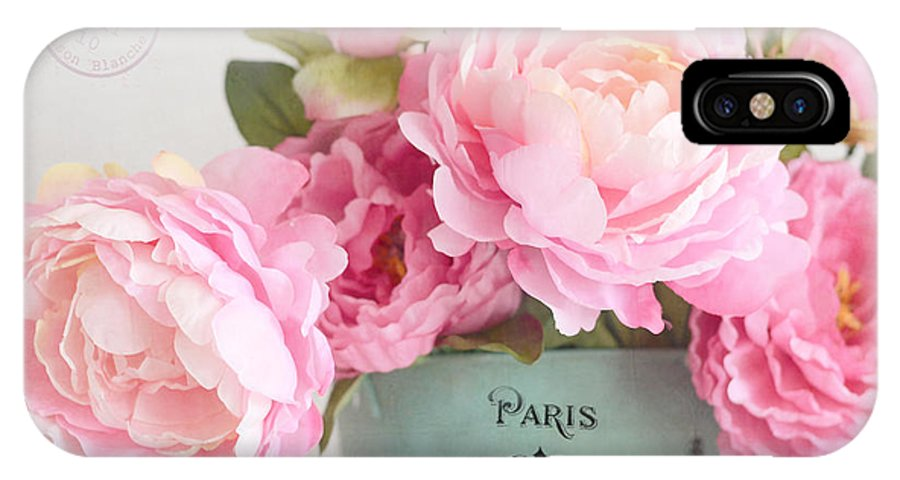 Paris IPhone X Case featuring the photograph Paris Peonies Shabby Chic Dreamy Pink Peonies Romantic Cottage Chic Paris Peonies Floral Art by Kathy Fornal