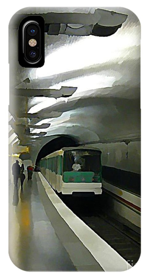 Subway IPhone X Case featuring the painting Paris Subway by John Malone