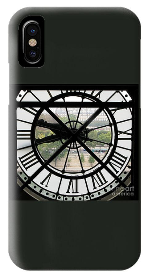 Clock IPhone X / XS Case featuring the photograph Paris Time by Ann Horn