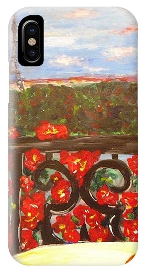 Paris IPhone X Case featuring the painting Paris View by Mary DeSilva