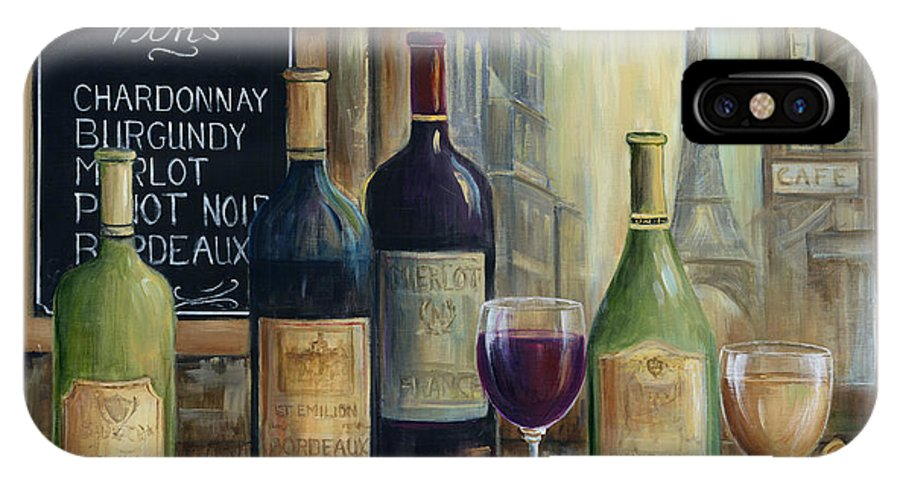 Paris IPhone X Case featuring the painting Paris Wine Tasting by Marilyn Dunlap
