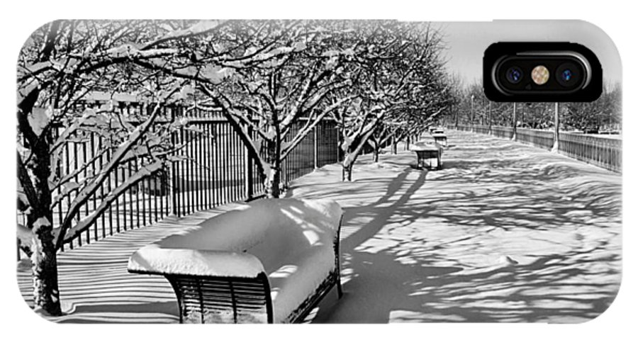 Park IPhone X Case featuring the photograph Park Benches Snow Upholstered by Gene Sherrill