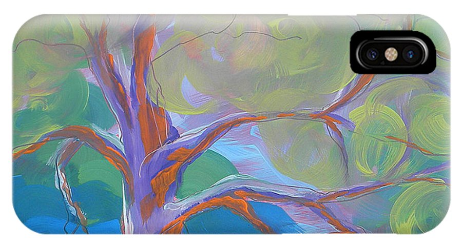 Oregon Artist IPhone X Case featuring the painting Park Trees 8 by Pam Van Londen