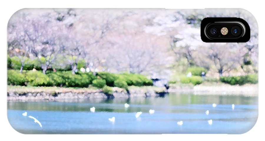 Mitsuike-koen IPhone X Case featuring the digital art Park With Pond And Cherry Blossoms In Spring by Beverly Claire Kaiya