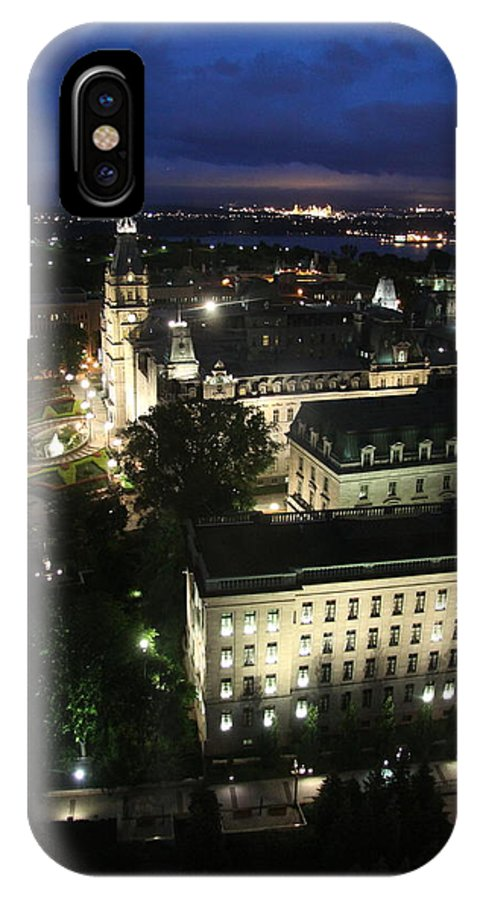 Parlament IPhone X / XS Case featuring the photograph Parlament Quebec At Night by Christiane Schulze Art And Photography