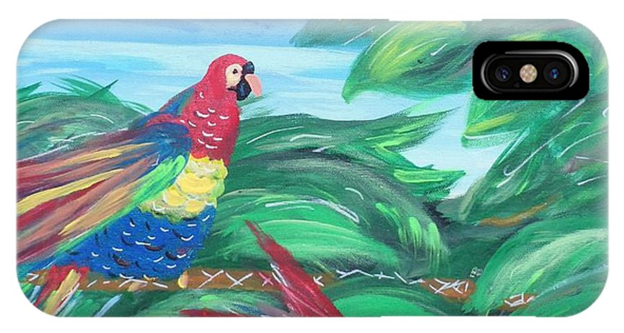 Colorful IPhone X Case featuring the painting Parrots In Paradise by Bobbi Groves