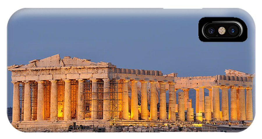 Acropolis; Acropoli; Akropoli; Akropolis; Parthenon; Monument; Athens; City; Capital; Attica; Attika; Attiki; Greece; Hellas; Greek; Hellenic; Europe; European; Temple; Ancient; Dusk; Twilight; Evening; Night; Lights; Holidays; Vacation; Travel; Trip; Voyage; Journey; Tourism; Touristic; Summer IPhone X Case featuring the photograph Parthenon In Acropolis Of Athens During Dusk Time by George Atsametakis