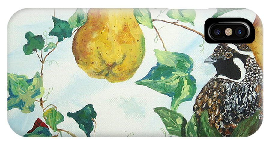 Tree IPhone X Case featuring the painting Partridge And Pears by Reina Resto