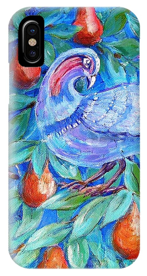 Christmas IPhone X Case featuring the painting Partridge In A Pear Tree by Trudi Doyle