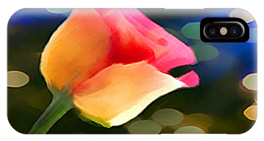 Rose Drawings IPhone X Case featuring the mixed media Party Rose by Dennis Buckman
