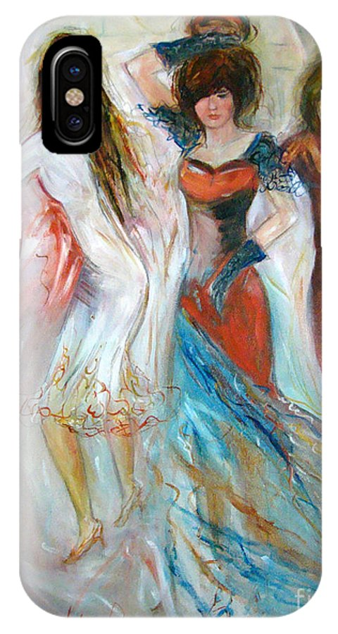 Contemporary Art IPhone X Case featuring the painting Party Time by Silvana Abel