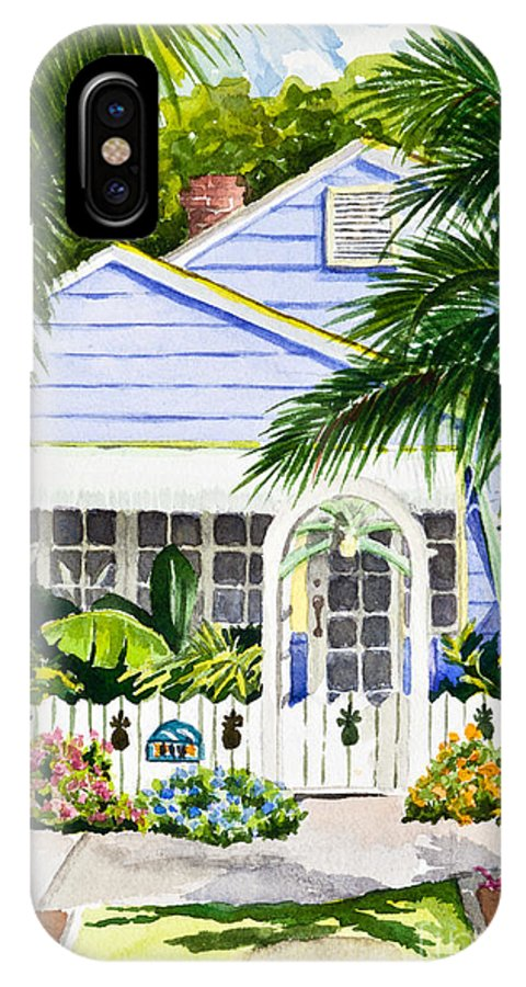 Pass A Grill IPhone X Case featuring the painting Pass-a-grille Cottage Watercolor by Michelle Wiarda-Constantine