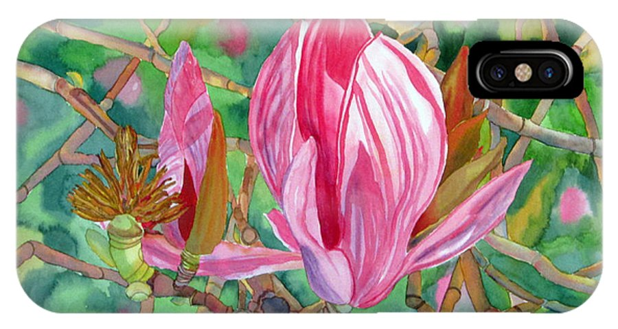 Magnolia IPhone X Case featuring the painting Passage by Debi Singer