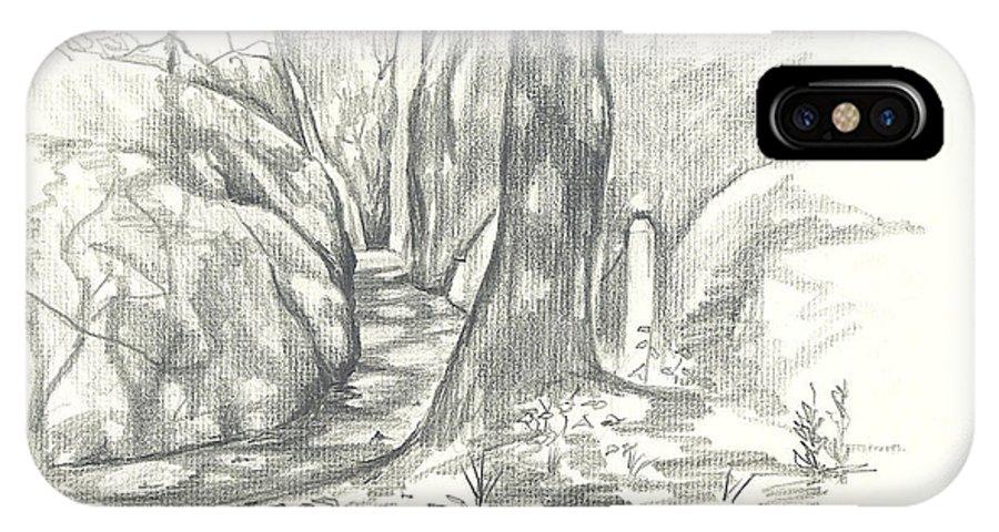 Passageway At Elephant Rocks IPhone X Case featuring the drawing Passageway at Elephant Rocks by Kip DeVore