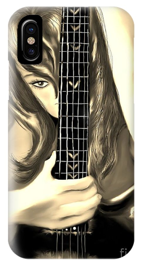 Guitar IPhone X Case featuring the painting Passion by Lori Lovetere