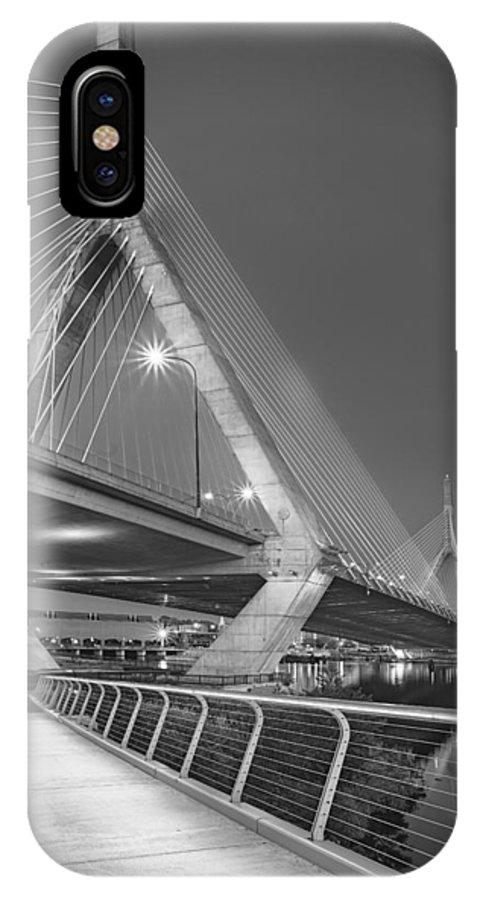 Boston IPhone X Case featuring the photograph Path To The Leonard P. Zakim Bridge Bw by Susan Candelario