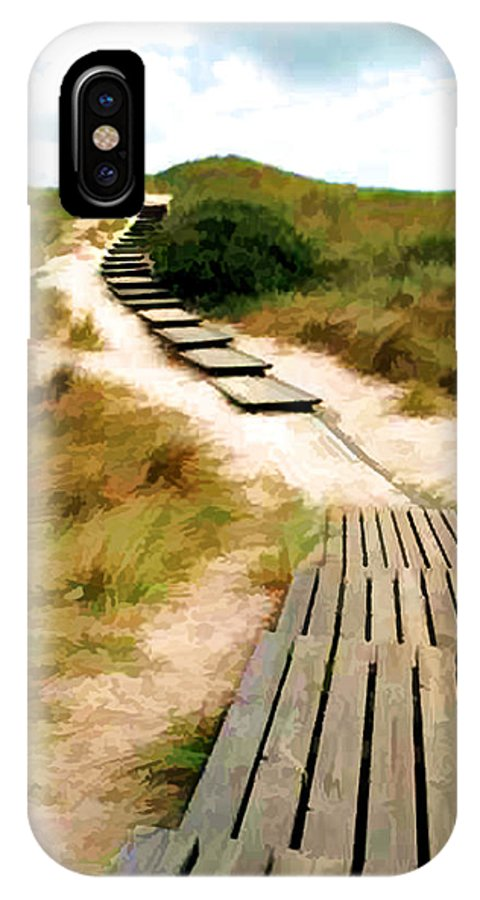 Beach IPhone X Case featuring the painting Path To The Sea by Elaine Plesser