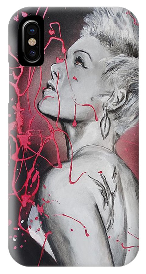 Alecia Beth Moore IPhone X Case featuring the painting Passion In Flight by Eric Dee