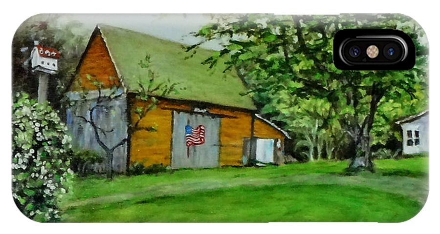Paintings IPhone X Case featuring the painting Patriotic Barn by Jennifer Calhoun