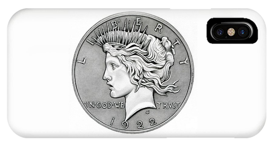 Coin IPhone X Case featuring the drawing Graphite Peace Dollar by Fred Larucci