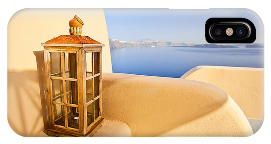 Santorini IPhone X Case featuring the photograph Peaceful Hour by Aiolos Greek Collections