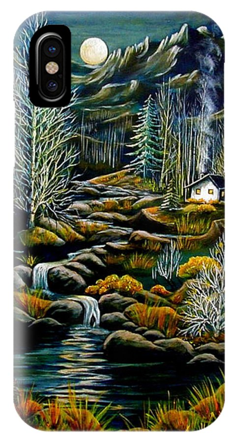 Mountains IPhone X Case featuring the painting Peaceful Seclusion by Diana Dearen