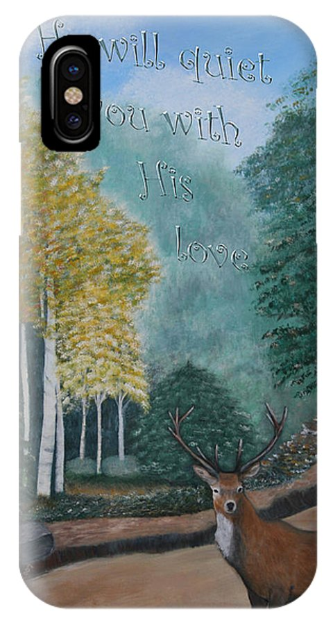 Landscape IPhone X Case featuring the painting Peaceful Walk by Mary Grabill