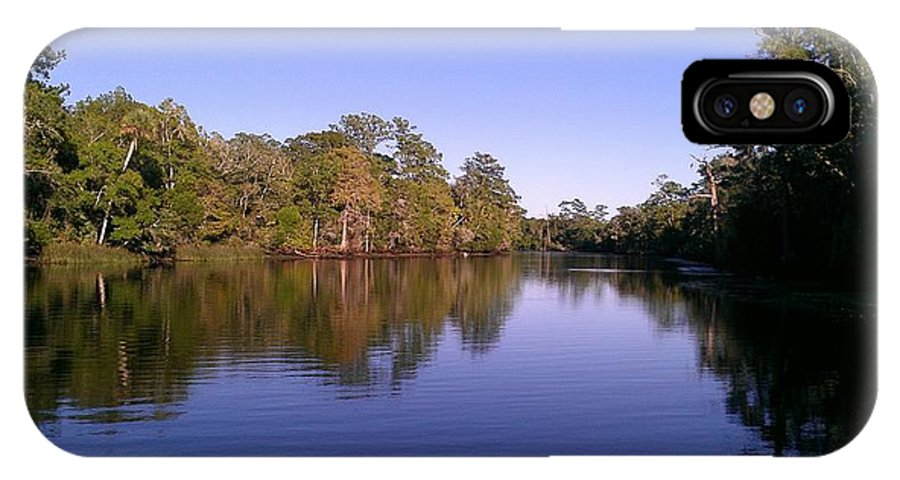 River IPhone X Case featuring the photograph Peaceful Waters by Lew Davis