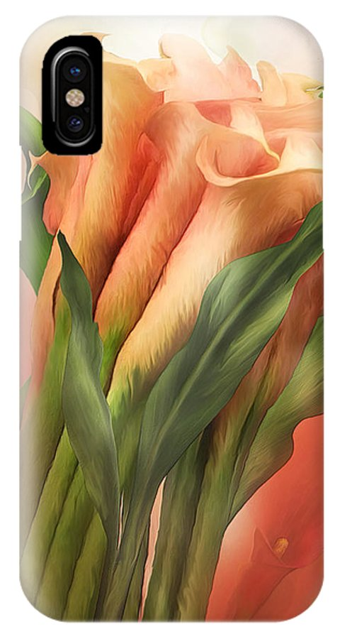 Calla Lilies IPhone X Case featuring the mixed media Peach Callas by Carol Cavalaris