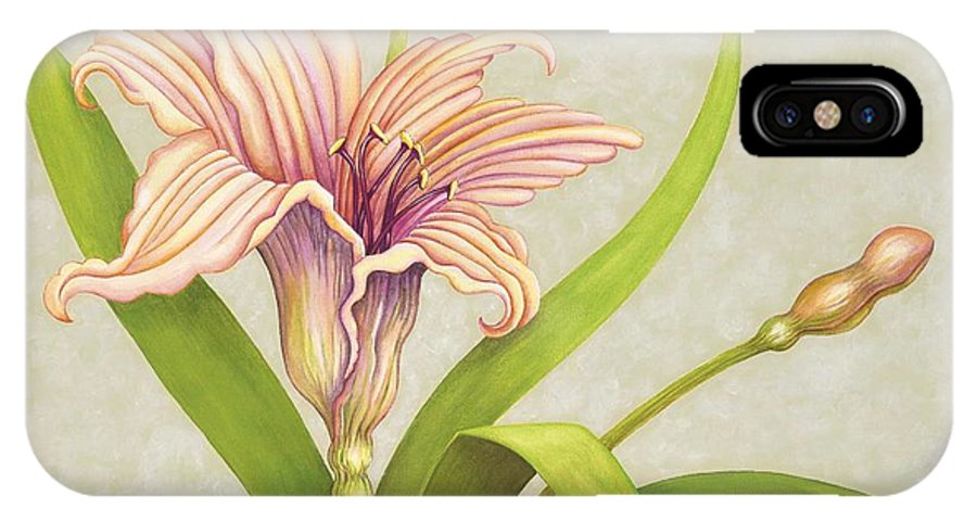 Soft Peach Lily In A Pose IPhone X Case featuring the painting Peach Lily by Carol Sabo