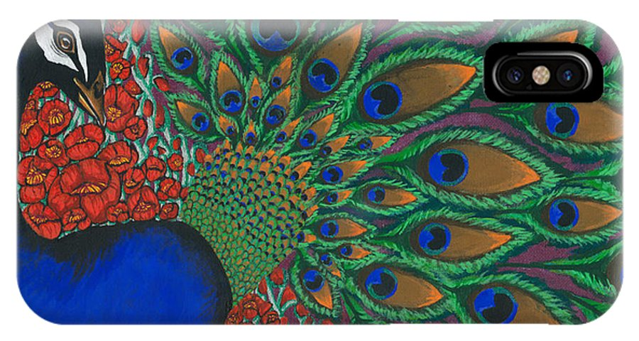 Peacock IPhone X Case featuring the painting Peacock And Poppies by Sweet Colene Art