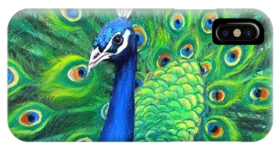 Peacock IPhone X Case featuring the painting Peacock by Sheila Hibbert