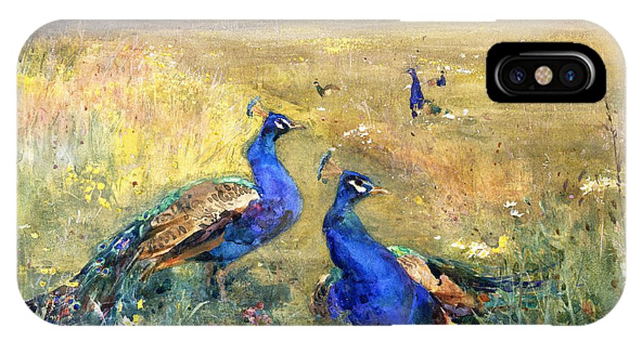 Peacock IPhone X Case featuring the painting Peacocks In A Field by Mildred Anne Butler