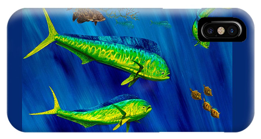 Dolphin IPhone X Case featuring the painting Peanut Gallery by Steve Ozment